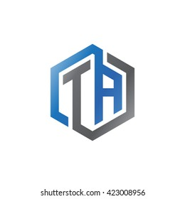 TA initial letters looping linked hexagon logo black gray blue