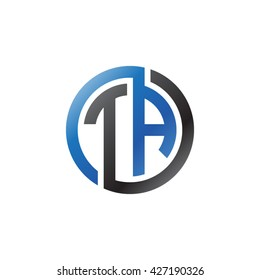 TA initial letters looping linked circle logo blue black