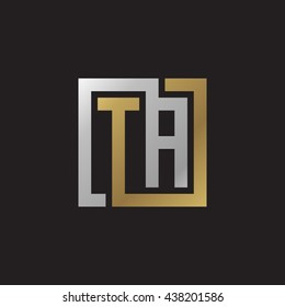 TA initial letters looping linked square elegant logo golden silver black background