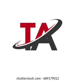 TA initial logo company name colored red and black swoosh design, isolated on white background. vector logo for business and company identity.