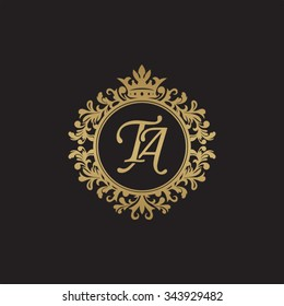 TA initial luxury ornament monogram logo