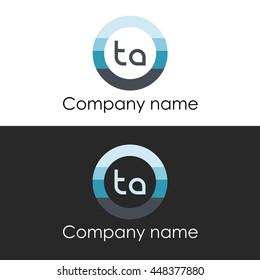 TA letter circle shape icon logo white blue