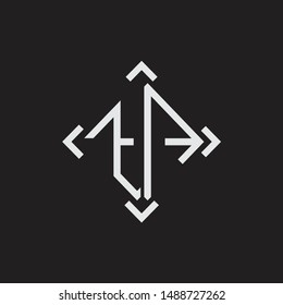 TA Logo Abstrac letter Monogram with Arrow in every side isolated on black background