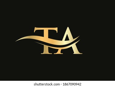 TA logo design. Creative and Minimalist Letter TA Logo Design with water wave concept.