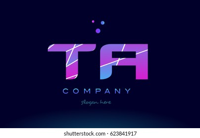 ta t a  creative color blue background pink purple magenta alphabet letter company logo vector icon