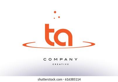 TA T A creative orange swoosh dots alphabet company letter logo design vector icon template