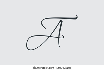 at or ta and a or t Cursive Letter Initial Logo Design Template Vector Illustration