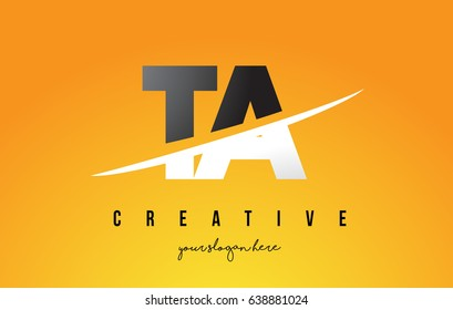 TA T A Letter Modern Logo Design with Swoosh Cutting the Middle Letters and Yellow Background.