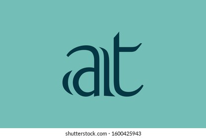at or ta and a or t Lowercase Letter Initial Logo Design Template Vector Illustration