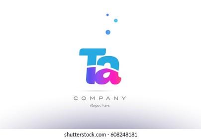 ta t a  pink purple blue white uppercase lowercase modern creative alphabet gradient company letter logo design vector icon template