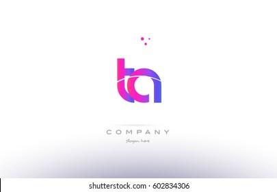 ta t a  pink purple modern creative gradient alphabet company logo design vector icon template