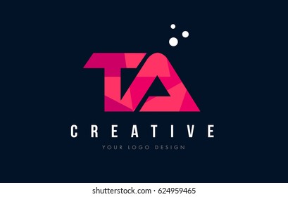 TA T A Purple Letter Logo Design with Low Poly Pink Triangles Concept