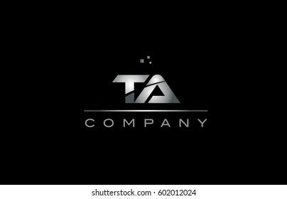 ta t a  silver grey metal metallic alphabet technology company letter logo design vector icon template black background