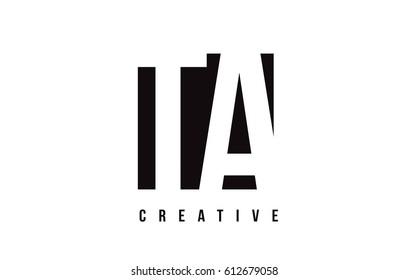 TA T A White Letter Logo Design with Black Square Vector Illustration Template.
