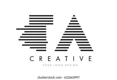 TA T A Zebra Letter Logo Design with Black and White Stripes Vector