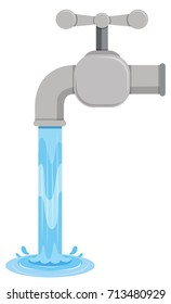 Tab water coming out of tab illustration