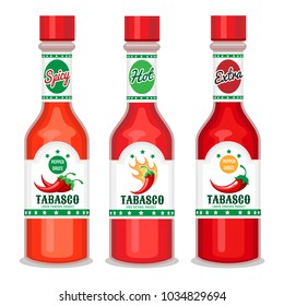 Tabasco sauce. Chili cayenne spicy pepper sauce, green and red bottle vector illustration