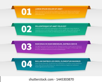 Tabbed labels. Color infographic banners leaflet template, infographics numbered ribbon tags with text. 3d info report vector steps numbers gradient for web used timeline