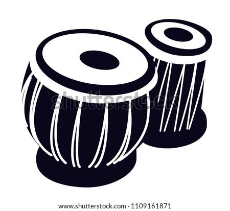 Tabla Arabic Drum Oriental Music Instrument Stock Vector ...