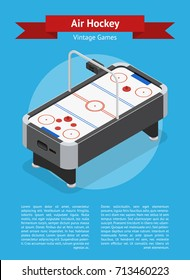 Table Air Hockey Game Banner Card Poster Isometric View Hobby and Sport for Design. Vector illustration