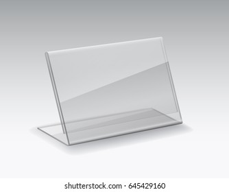 Table card holder isolated on grey background. Vector empty glass stand display. Clear plastic tag mockup or acryl shelf talker template.