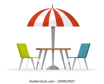 Table and chair under the red umbrella. Street cafe concept. Comfort place.