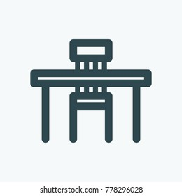 Table and chair vector icon