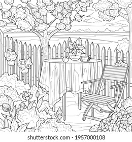 Table and chairs in the garden.Coloring book antistress for children and adults. Illustration isolated on white background.Zen-tangle style. Hand draw