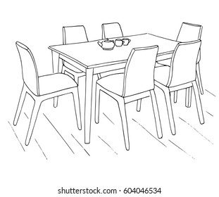Table and chairs. On the table are two cups. Hand drawn sketch.Vector illustration.