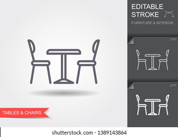 Table and chairs. Outline icon with editable stroke. Linear symbol of the furniture and interior with shadow