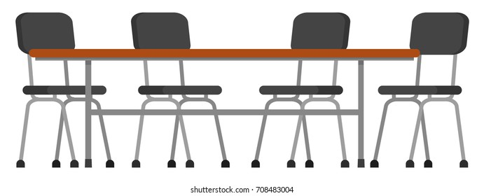 Table and chairs. Vector illustration, a flat style design. Isolated on a white background.