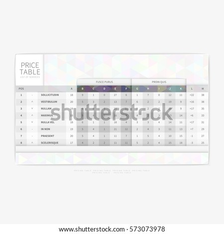 table chart comparison template commercial business stock vector
