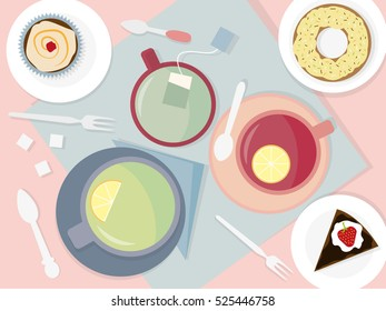 Table with cups of tea and desserts. Flat vectors