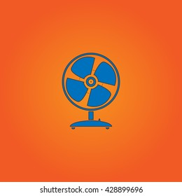 Table fan. Blue flat icon with black stroke on orange background. Collection concept vector pictogram for infographic project and logo