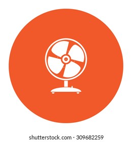 Table fan. Flat white symbol in the orange circle. Vector illustration icon
