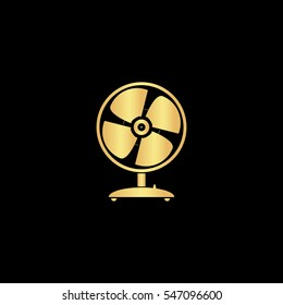 Table fan. Gold symbol icon on black background