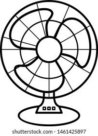 Table fan in outline style. Coloring template for modification and customizing  according to a specific task.