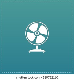 Table fan. White flat icon with black stroke on blue background