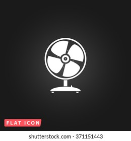 Table fan. White flat simple vector icon on black background.