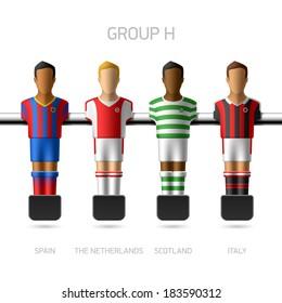 Table football, foosball players. European football championship, Group H - Spain, the Netherlands, Scotland, Italy. Vector.