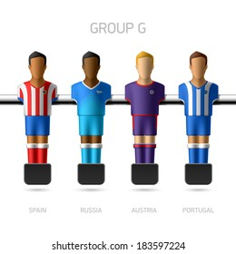 Table football, foosball players. European football championship, Group G - Spain, Russia, Austria, Portugal. Vector.