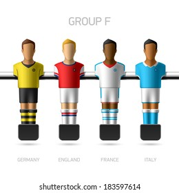 Table football, foosball players. European football championship, Group F - Germany, England, France, Italy. Vector.