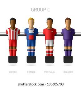 Table football, foosball players. European football championship, Group C - Greece, France, Portugal, Belgium. Vector.