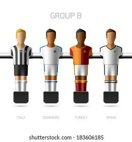 Table football, foosball players. European football championship, Group B - Italy, Denmark, Turkey, Spain. Vector.