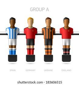 Table football, foosball players. European football championship, Group A - Spain, Germany, Ukraine, England. Vector.