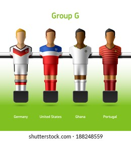 Table football / foosball players. World soccer championship. Group G - Germany, United States, Ghana, Portugal. Vector.