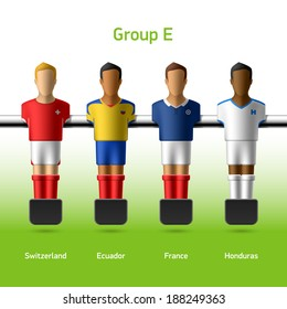 Table football / foosball players. World soccer championship. Group E - Switzerland, Ecuador, France, Honduras. Vector.