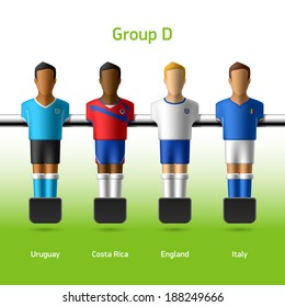 Table football / foosball players. World soccer championship. Group D - Uruguay, Costa Rica, England, Italy. Vector.