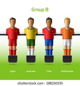 Table football / foosball players. World soccer championship. Group B - Spain, Australia, Chile, Netherlands. Vector.