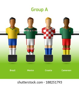 Table football / foosball players. World soccer championship. Group A - Brazil, Mexico, Croatia, Cameroon. Vector.